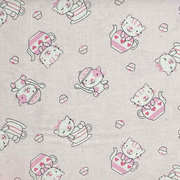 Studio E - Fun & Games - Tossed Kittens & Tea Kettles - Lt Pink