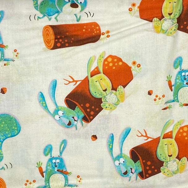 Henry Glass - Woodsy Wonders - Playful Bunnies - Cream