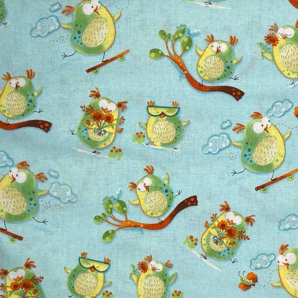 Henry Glass - Woodsy Wonders - Cool Owls - Lt Blue
