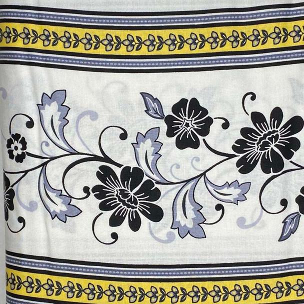 Henry Glass - Audrey - Floral Stripe - White/Black