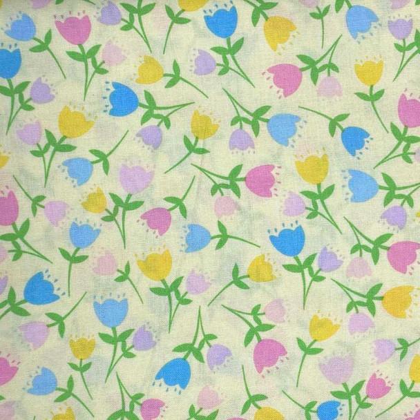 Benartex - Love Bunny - Tossed Tulips - Lt Yellow
