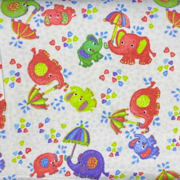 Fabri-Quilt - Cuddle Prints Flannel - Rainy Day Elephants - White/Pink