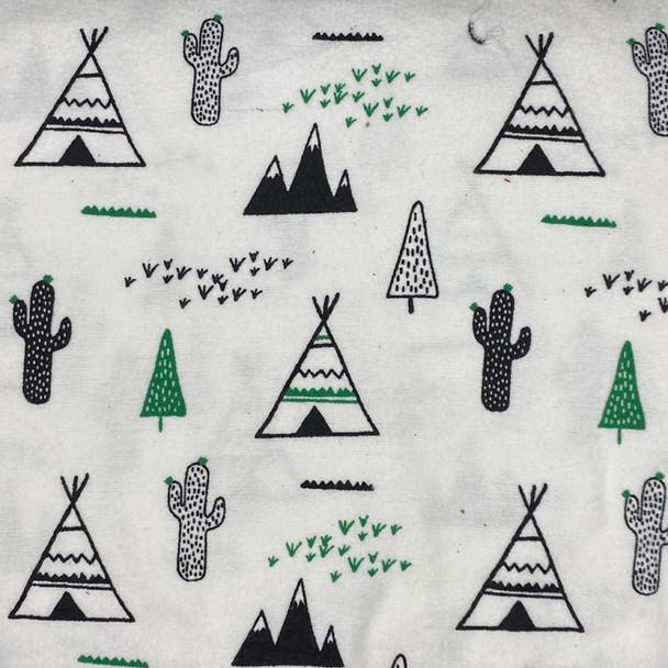 Mook Fabrics - Flannel Prints - Desert Scene - White/Pink