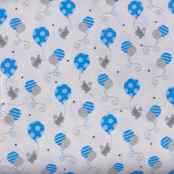 Studio E - Hello Baby Flannel - Mice with Balloons - Blue/White