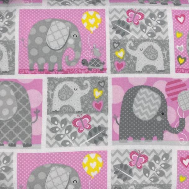 Studio E - Hello Baby Flannel - Elephants - Pink