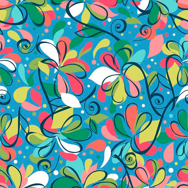 River's Bend - Swirlygig - Swirl Flowers - Blue
