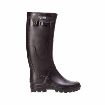 Aigle Black Rubber Boots - side