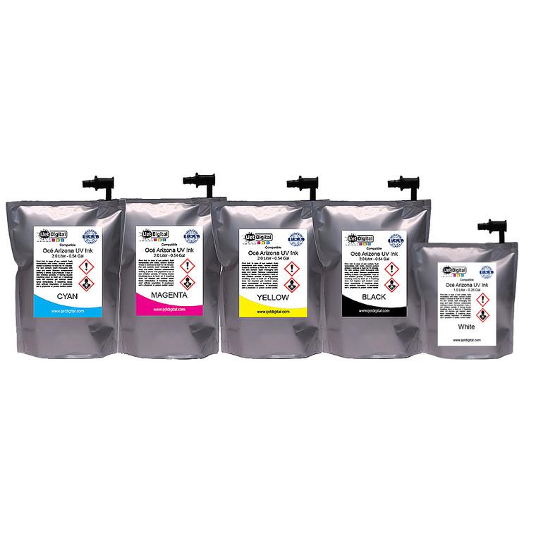 iJetDigital - Compatible Océ Arizona UV Ink - Including White. CMYK are 2 Liter Bags. White is a 1 Liter Bag