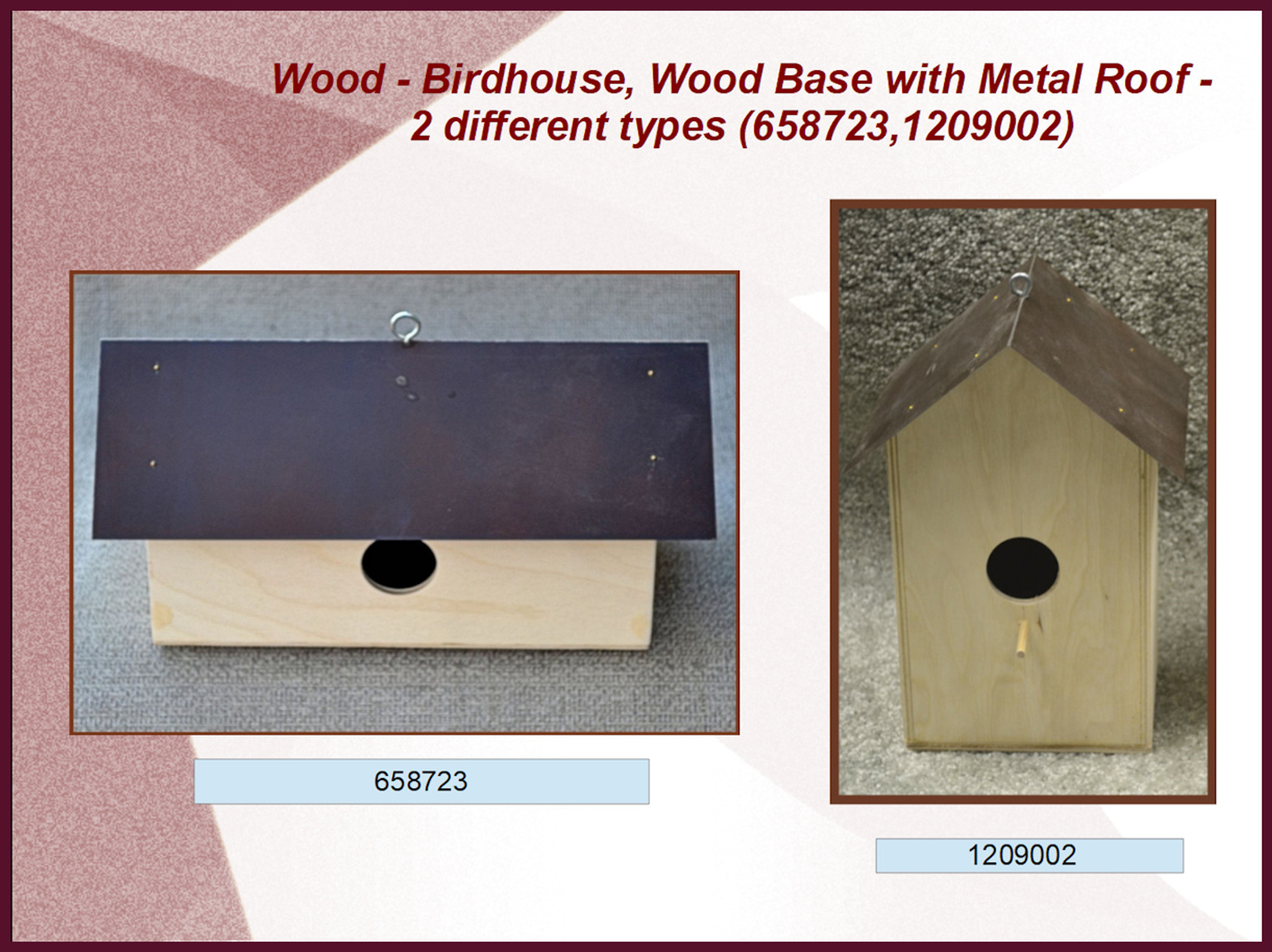Wood Birdhouse Wood Base With Metal Roof 2 Different Types 6587231209002