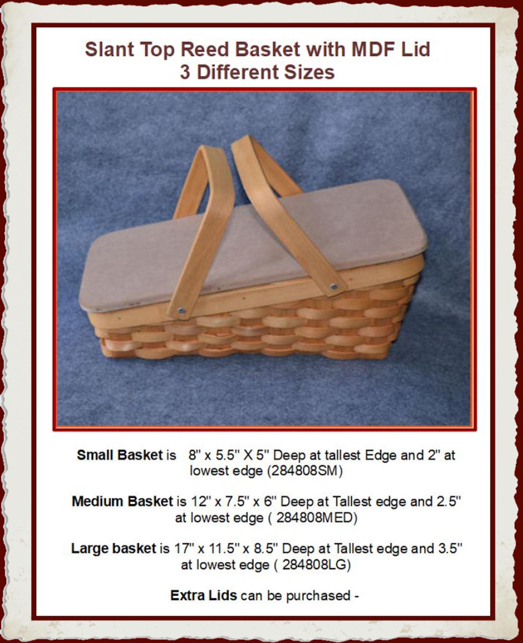 Basket - Slant Top Reed basket with MDF Lid - 2 Sizes (284808SM, 284808MED,  Large Size is Discontinued