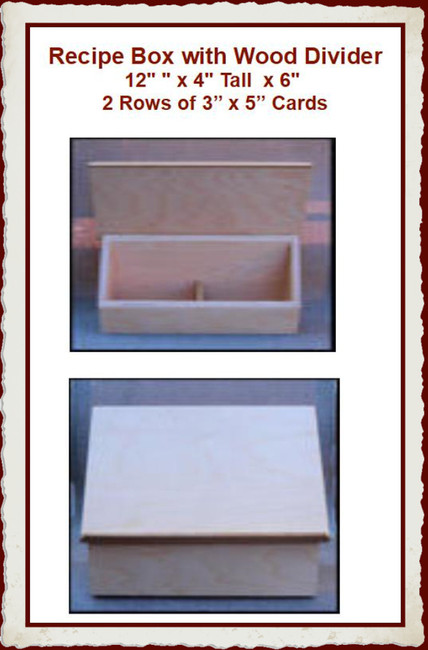 """Wood - Box, Recipe with Dividers 12"""" x 9"""" x 4"""" (1923006)"""