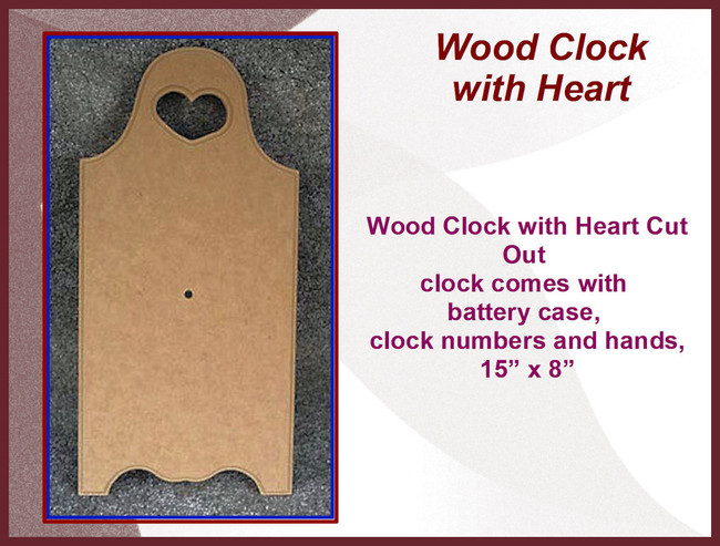 "Wood - Clock, Heart Cut Out 15"" x 8"" (161618)"