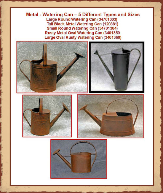 Metal - Watering Can - 6 Different types and Sizes to Choose from (34701303,  120881, 34701304, 13401359, 3401360)