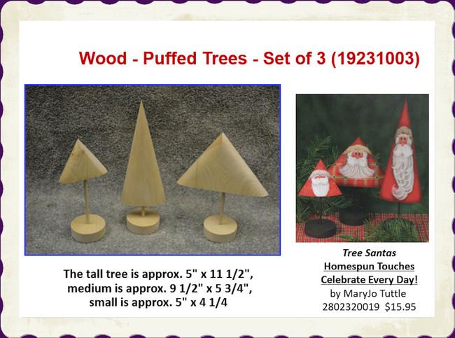 Wood - Puffed Trees - Set of 3 (19231003)