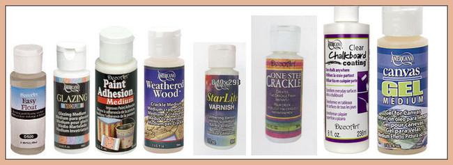 Paints - DecoArt Mediums - Easy Float, Glazing Medium, Weathered Wood, Starlite Varnish, One Step Crackle, Clear Chalkboard Coating, Canvas Gel