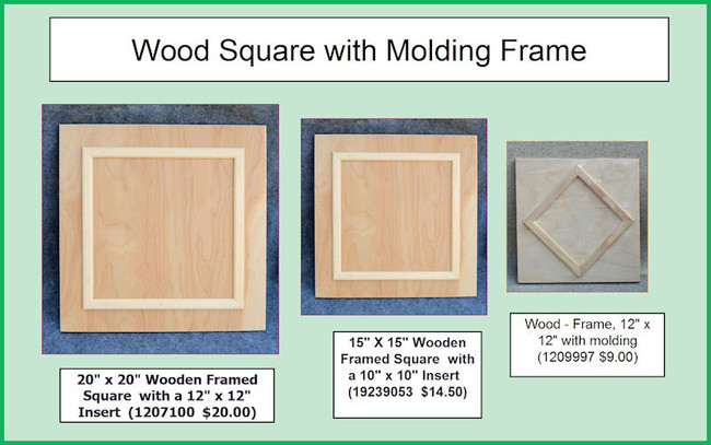 """Wood - Framed Square - 3 Sizes  20"""" x 20""""  or 15"""" x 15"""" or 12"""" x 12""""( 1207100, 19239053, 1209997)"""