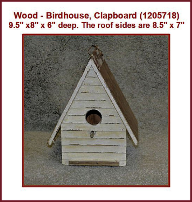 "Wood - Birdhouse, Clapboard 9.5"" x8"" x 6""  (1205718)"