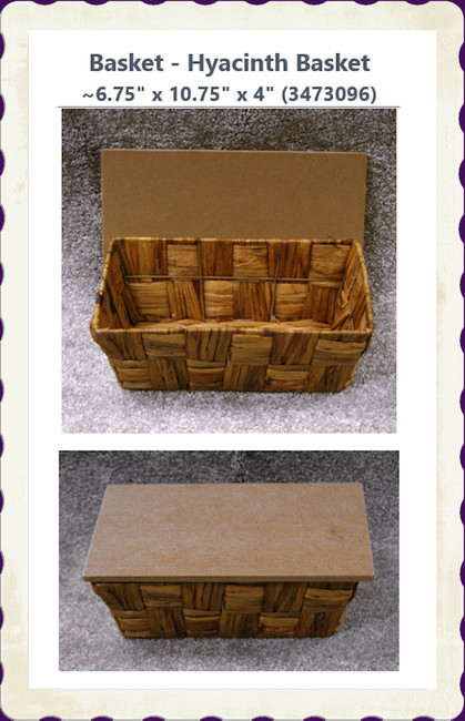 "Basket - Hyacinth Basket ~6.75"" x 10.75"" x 4"" (3473096)"