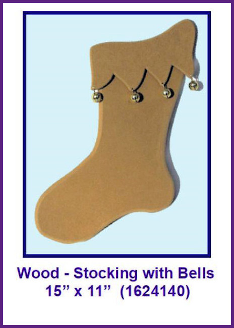 "Wood - Stocking with Bells 15"" x 11"" (1624140)"
