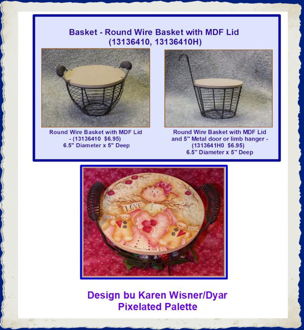 Basket - Round Wire Basket with MDF Lid (13136410, 13136410H)