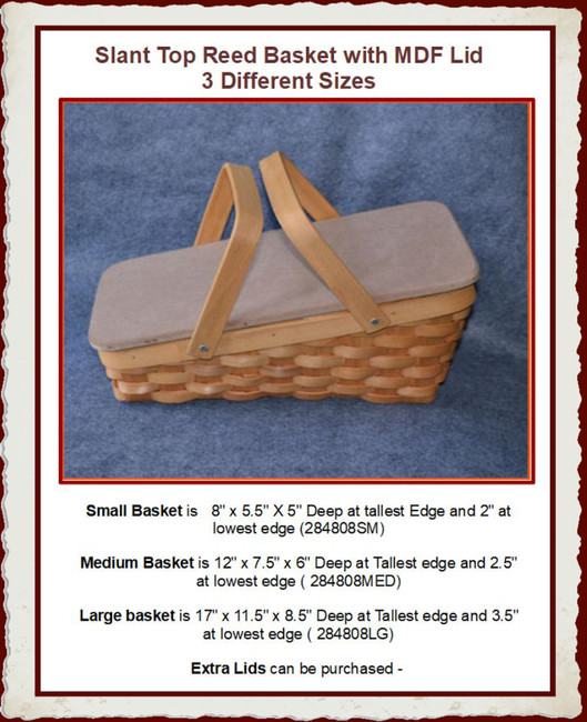 Basket - Slant Top Reed basket with MDF Lid - 3 Sizes (284808SM, 284808MED, 284808LG