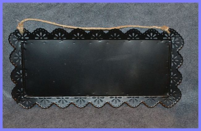 "Metal Black Tray with String Hanger ~ 14"" x 9"""