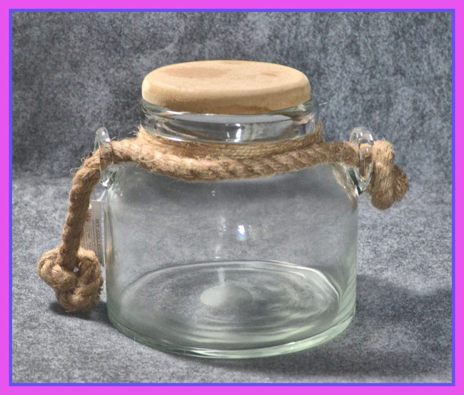 """Glass Storage Jar with 4"""" wooden Lid"""
