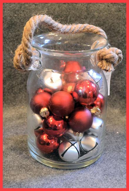 "Glass - ""Baubles and Bells"" Glass Jar (TGX69738)"