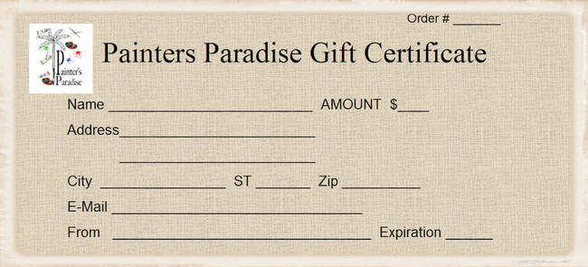 Gift Certificatehttp://www.paintersparadise.com/giftcertificates.php