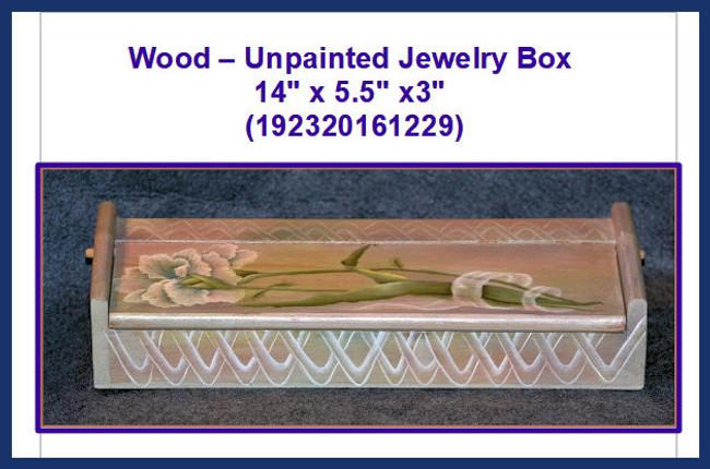 "Wood - Jewelry Box 14"" x 5.5"" x3"" (192320161229)"