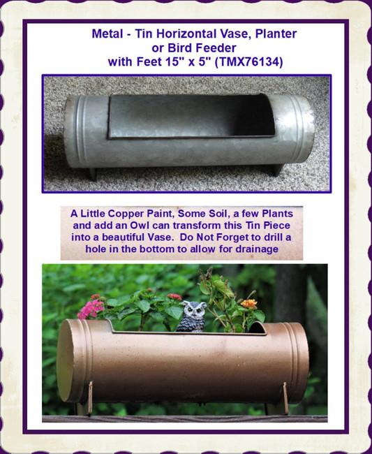 """Metal - Tin Horizontal Vase, Planter or Bird Feeder with Feet  15"""" x 5"""" (TMX76134)"""