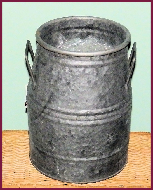 "Metal - Milk Can, Galvanized 10"" x 7.5"" (8T1305)"
