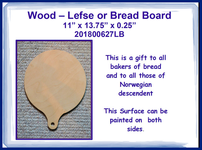"Wood - Lefse or Bread Board 11"" x 13.75"" (20180627LB)"