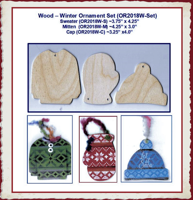 Wood - Winter Ornament Set (OR2018W-Set)
