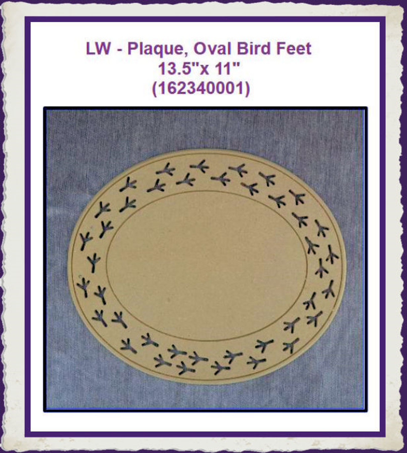 "LW - Bird Feet Oval Plaque 13.5"" x 11"" (162340001) List Price $17.00"