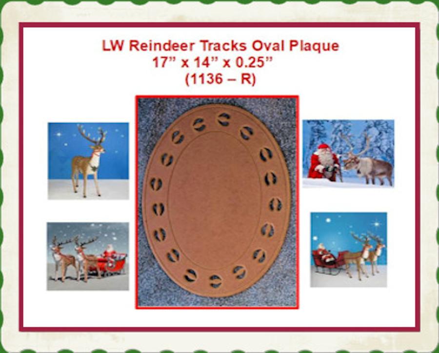 "LW Reindeer Tracks Oval Plaque 17"" x 14"" x 0.25""    (1136 – R) List Price $30.00"