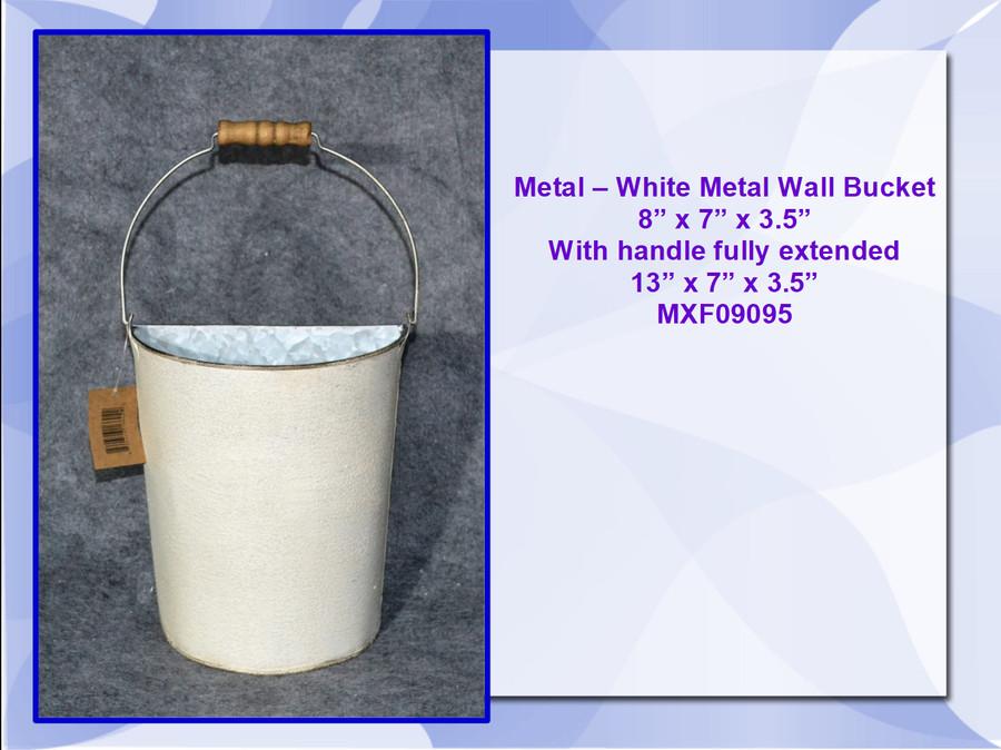 "Metal - White Metal Wall Bucket (MXF09095) 8"" x 7# x 3.5"""