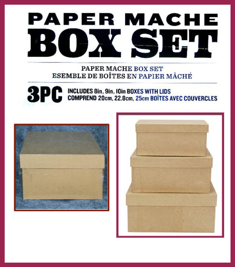 """PM - Three Piece Paper Mache Box Set of 3  -8"""",  9' and 10"""" (9678-2018-04 Formerly 284915) List Price $25.00"""