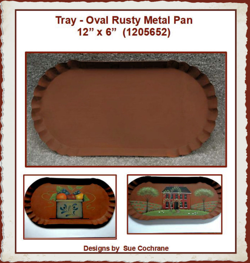 "Tray - Oval Rusty Metal Pan 12"" x 6"" (1205652) List Price $9.00"