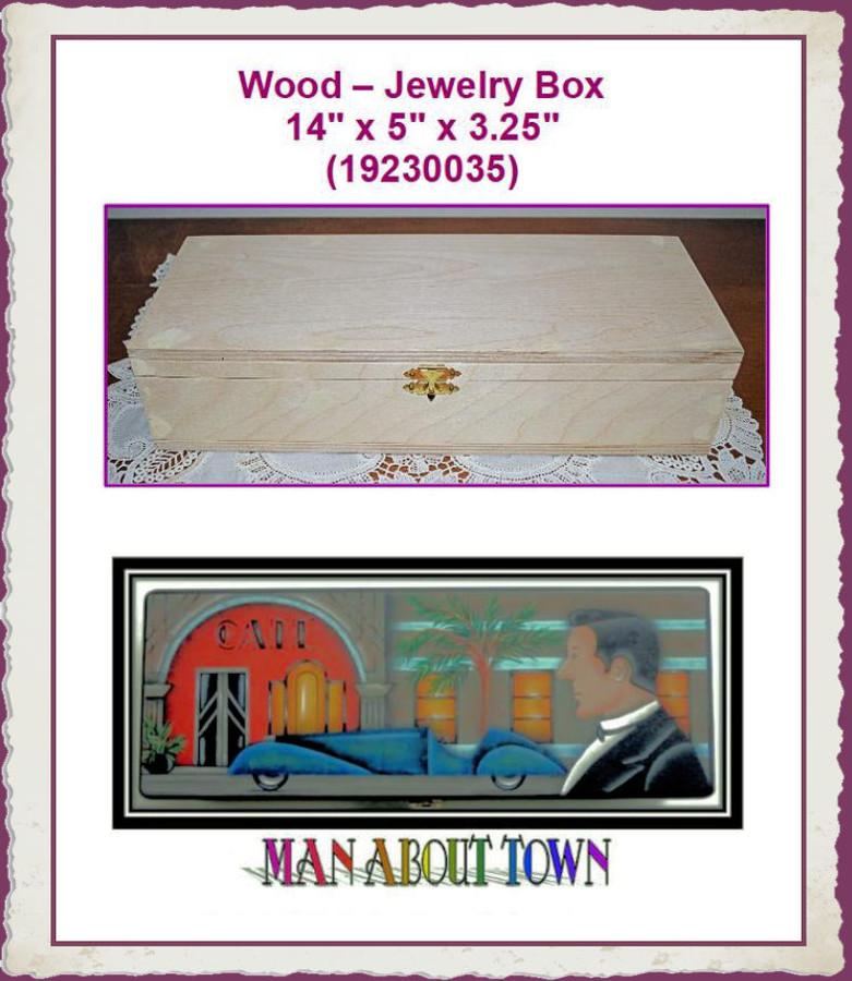 """Wood - Box, Jewelry 14"""" x 5"""" x 3.25"""" (19230035) List Price $30.00"""