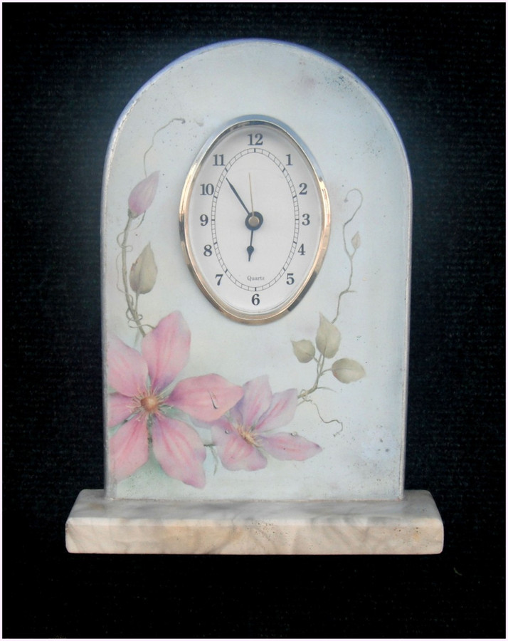 Wood - Clock Unpainted , Clematis  wth Round Face Clock Insert (1203444) List Price $14.00