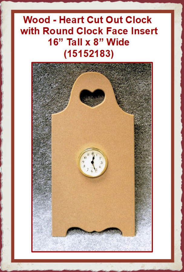 Wood - Heart Cut Out Clock  with Round Clock Face Insert(15152183)List Price $30.00