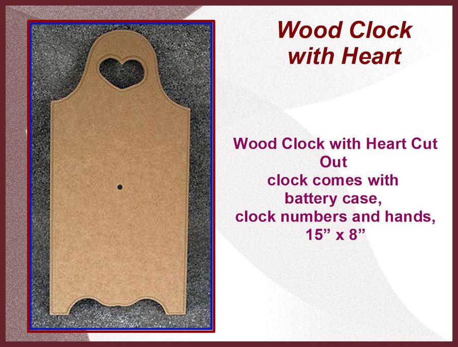 "Wood - Clock, Heart Cut Out 15"" x 8"" (161618)"
