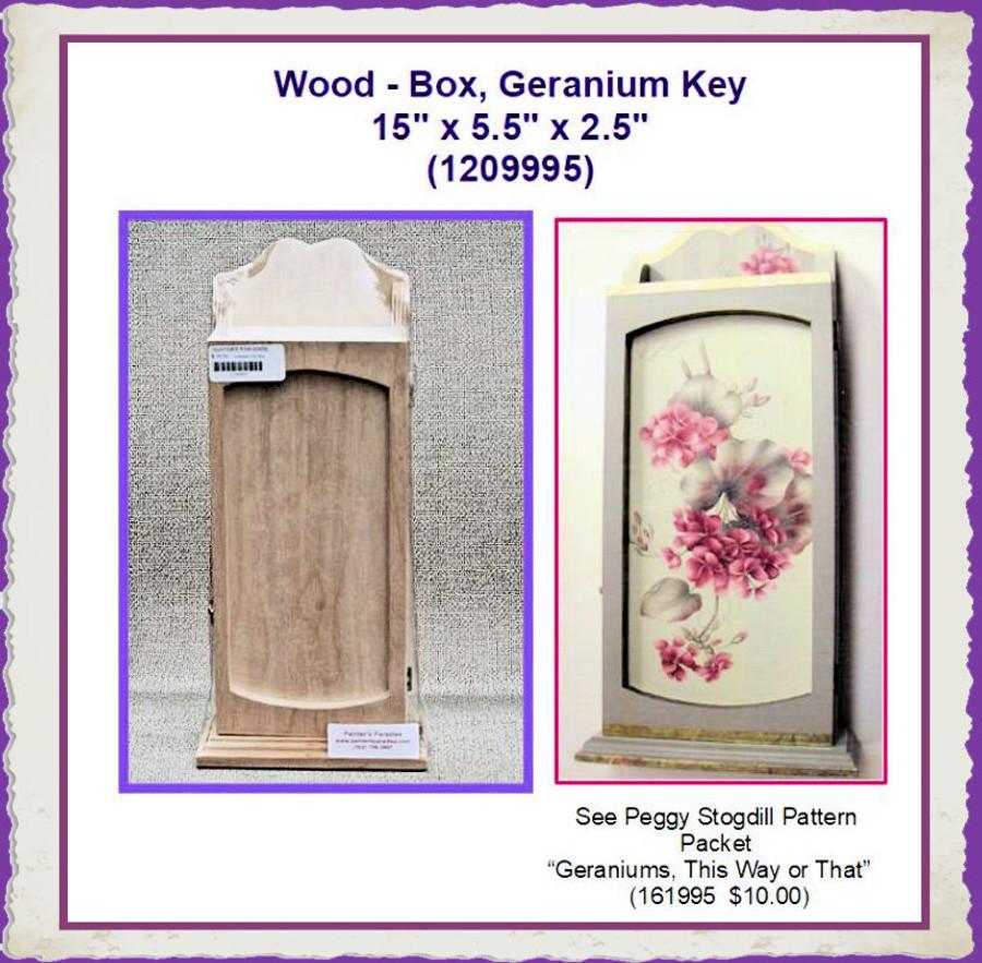 "Wood - Box, Geranium Key 15"" x 5.5"" x 2.5"" (1209995) List Price $24.00"