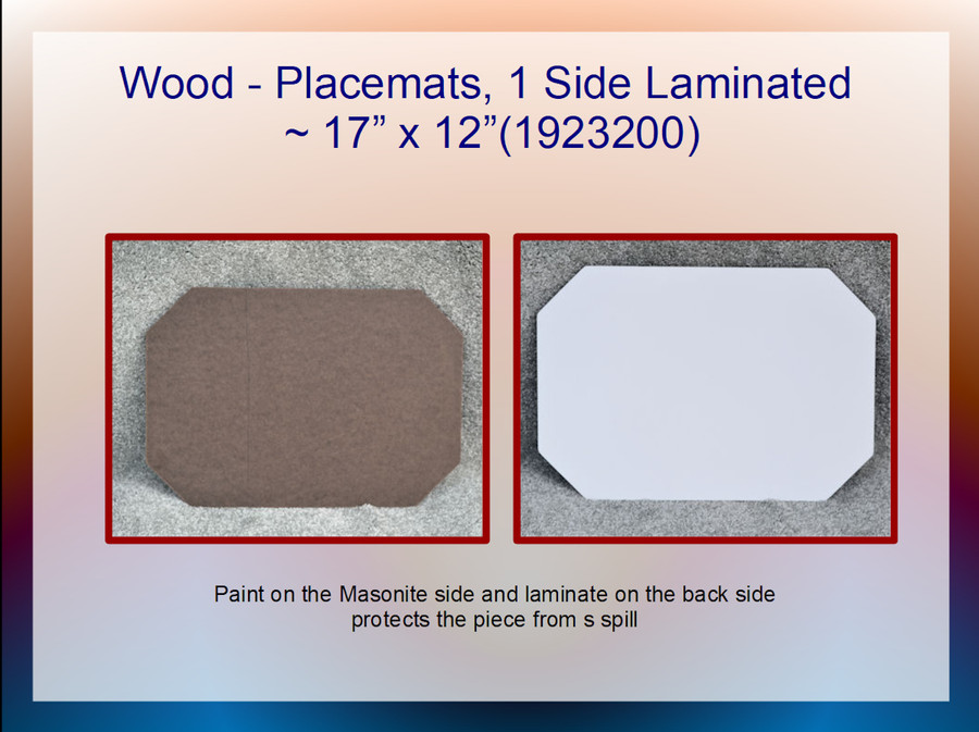 "Wood - Placemat, Laminated ~17"" x 12"" (1923200)  List Price $7.00"