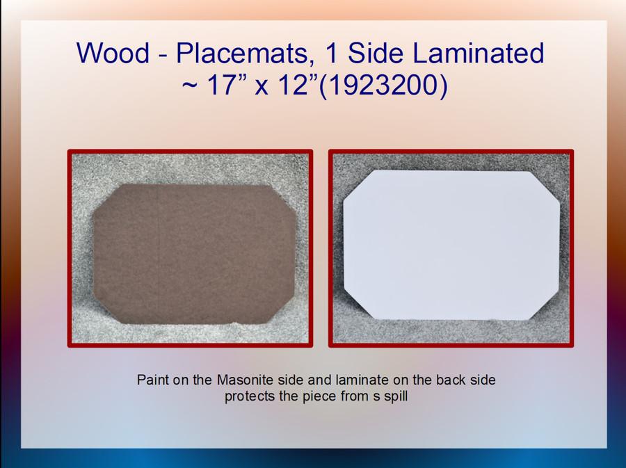"Wood - Placemat, Laminated Masonite  ~17"" x 12"" (1923200)  List Price $8.00"