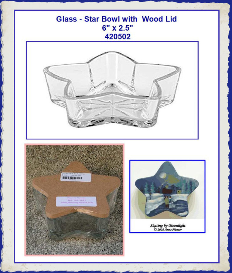 "Glass - Star Bowl with Lid  6"" x 2.25"" (420502) List Price $11.00"