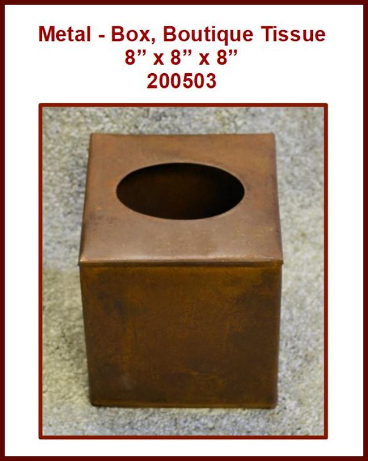"Metal - Box, Boutique Tissue 8"" x 8"" x 8"" (200503) List Price $15.00"