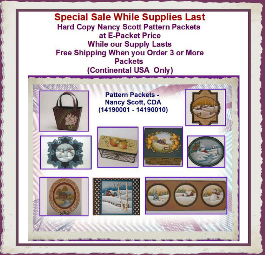 Pattern Packets - Nancy Scott, CDA (14190001 - 14190010) List Price $8.00 --> E-Packet Pricing $6.00