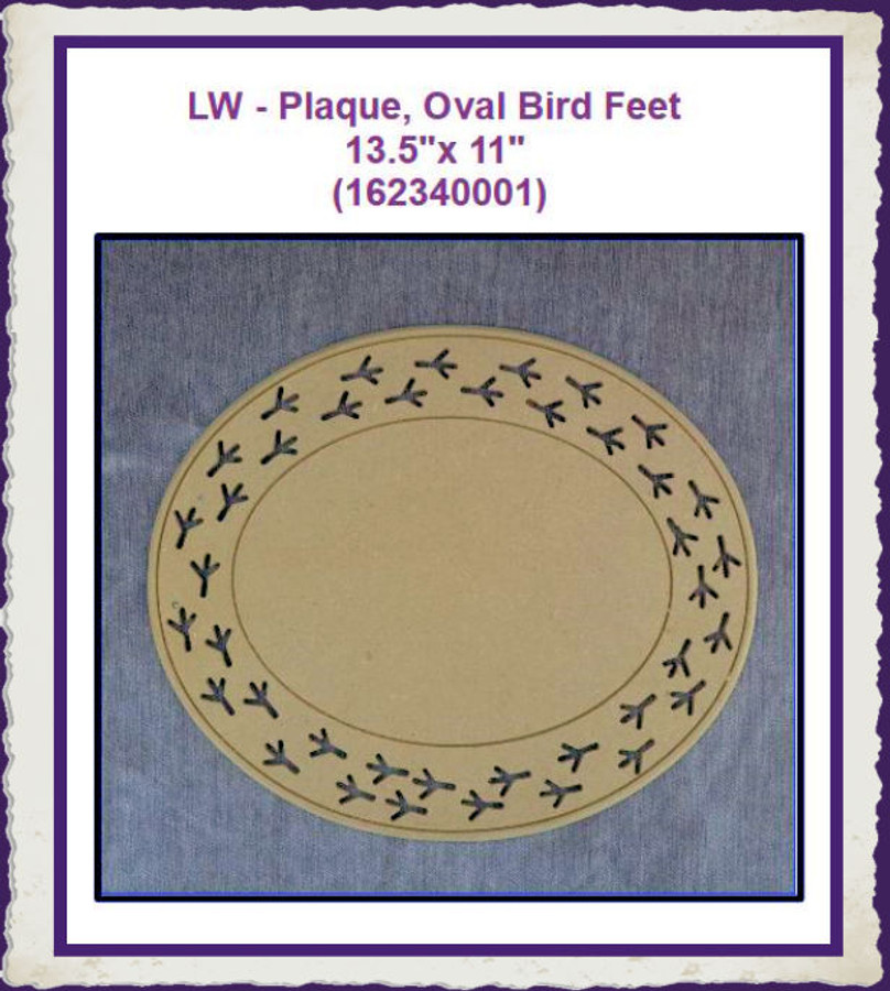 "LW - Plaque, Oval Bird Feet 13.5""x 11"" (162340001)"